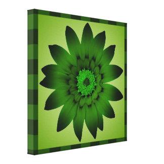 Dark Olive Green Flower artwork - Wrapped canvas
