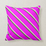 [ Thumbnail: Dark Olive Green, Gray, Light Yellow, and Fuchsia Throw Pillow ]