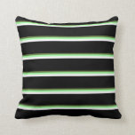 [ Thumbnail: Dark Olive Green, Green, White & Black Colored Throw Pillow ]