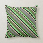 [ Thumbnail: Dark Olive Green, Grey, Tan, Black & Light Green Throw Pillow ]