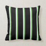 [ Thumbnail: Dark Olive Green, Light Green, Mint Cream & Black Throw Pillow ]