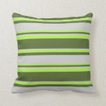 [ Thumbnail: Dark Olive Green, Light Grey & Light Green Colored Throw Pillow ]
