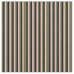 [ Thumbnail: Dark Olive Green, Light Pink & Black Stripes Fabric ]