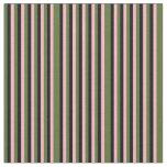[ Thumbnail: Dark Olive Green, Light Pink & Black Stripes Fabric ]