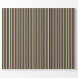 [ Thumbnail: Dark Olive Green, Light Pink & Black Stripes Wrapping Paper ]