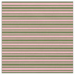 [ Thumbnail: Dark Olive Green & Light Pink Colored Lines Fabric ]