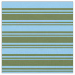 [ Thumbnail: Dark Olive Green & Light Sky Blue Colored Stripes Fabric ]