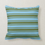 [ Thumbnail: Dark Olive Green & Light Sky Blue Colored Stripes Throw Pillow ]