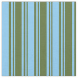 [ Thumbnail: Dark Olive Green & Light Sky Blue Stripes Fabric ]