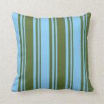 [ Thumbnail: Dark Olive Green & Light Sky Blue Stripes Pillow ]