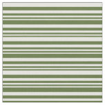 [ Thumbnail: Dark Olive Green & Mint Cream Colored Lines Fabric ]