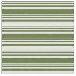 [ Thumbnail: Dark Olive Green & Mint Cream Colored Stripes Fabric ]