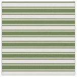 [ Thumbnail: Dark Olive Green & Mint Cream Stripes Fabric ]