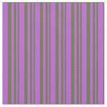 [ Thumbnail: Dark Olive Green & Orchid Lined Pattern Fabric ]