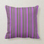[ Thumbnail: Dark Olive Green & Orchid Lined Pattern Pillow ]