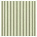 [ Thumbnail: Dark Olive Green & Pale Goldenrod Stripes Pattern Fabric ]