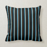 [ Thumbnail: Dark Olive Green, Pink, Deep Sky Blue & Black Throw Pillow ]
