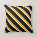 [ Thumbnail: Dark Olive Green, Plum, Orange, White & Black Throw Pillow ]