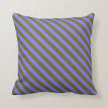 [ Thumbnail: Dark Olive Green & Purple Colored Pattern Pillow ]