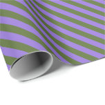 [ Thumbnail: Dark Olive Green & Purple Colored Pattern Wrapping Paper ]