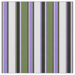 [ Thumbnail: Dark Olive Green, Purple, Lavender & Black Stripes Fabric ]
