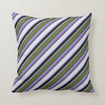 [ Thumbnail: Dark Olive Green, Purple, Lavender & Black Stripes Throw Pillow ]