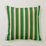 [ Thumbnail: Dark Olive Green, Red, Grey, Beige, and Dark Green Throw Pillow ]
