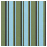 [ Thumbnail: Dark Olive Green, Sky Blue, and Black Stripes Fabric ]