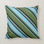 [ Thumbnail: Dark Olive Green, Sky Blue, and Black Stripes Throw Pillow ]