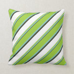 [ Thumbnail: Dark Olive Green, Sky Blue, Green, White & Black Throw Pillow ]