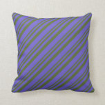 [ Thumbnail: Dark Olive Green & Slate Blue Colored Pattern Throw Pillow ]