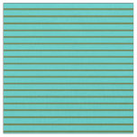 [ Thumbnail: Dark Olive Green & Turquoise Lines Fabric ]