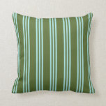 [ Thumbnail: Dark Olive Green & Turquoise Lines Throw Pillow ]