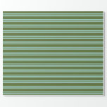 [ Thumbnail: Dark Olive Green & Turquoise Lines Wrapping Paper ]
