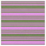 [ Thumbnail: Dark Olive Green & Violet Pattern Fabric ]