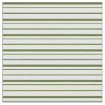 [ Thumbnail: Dark Olive Green & White Colored Stripes Fabric ]