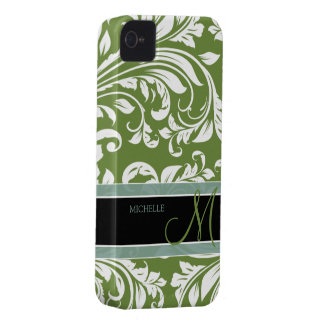 Dark Olive Green & white floral damask w/ monogram Case-Mate iPhone 4 Case