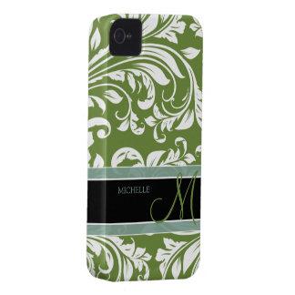 Dark Olive Green & white floral damask w/ monogram iPhone 4 Case-Mate Case