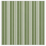 [ Thumbnail: Dark Olive Green & White Lines Fabric ]