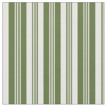 [ Thumbnail: Dark Olive Green & White Lines Pattern Fabric ]