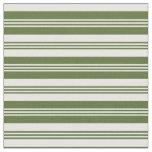 [ Thumbnail: Dark Olive Green & White Pattern Fabric ]