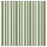 [ Thumbnail: Dark Olive Green & White Striped Pattern Fabric ]