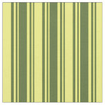 [ Thumbnail: Dark Olive Green & Yellow Colored Stripes Fabric ]