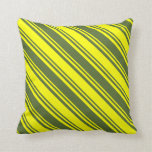 [ Thumbnail: Dark Olive Green & Yellow Colored Stripes Pillow ]
