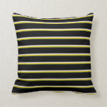 [ Thumbnail: Dark Olive Green, Yellow, Lavender & Black Lines Throw Pillow ]