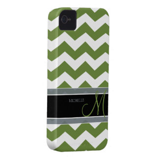 Dark Olive Green Zig Zag Pattern with monogram iPhone 4 Cover