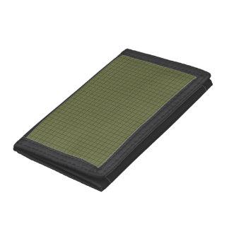 Dark Olive Squares Tri-fold Wallet