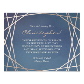 Dark Opaline Birthday Invitation Champagne Gold