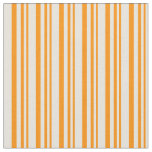 [ Thumbnail: Dark Orange and Beige Colored Lines Fabric ]