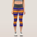 [ Thumbnail: Dark Orange and Dark Blue Colored Striped Pattern Leggings ]